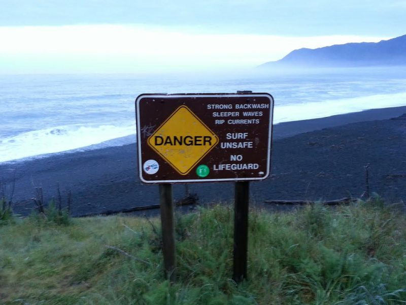 Beach Dangers Sand Danger Sign at Black Sands