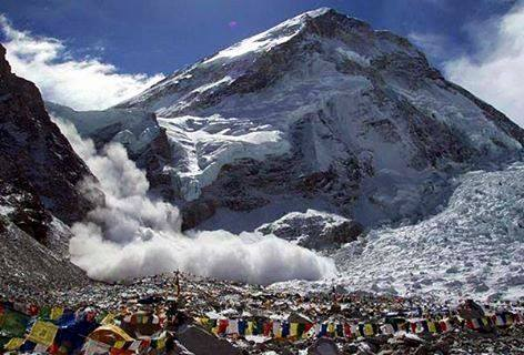 Avalanche at Mount Everest Base Camp