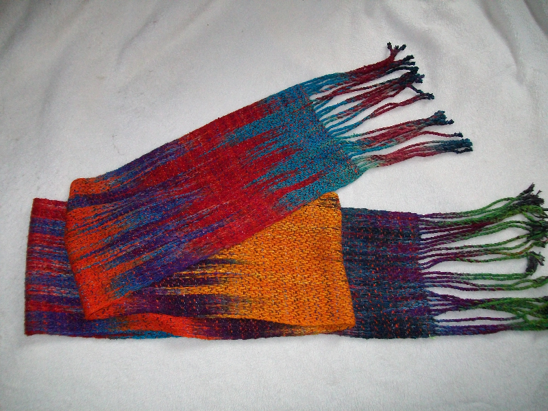 Handwoven, hand-dyed, silk scarf by Carolyn Jones.
