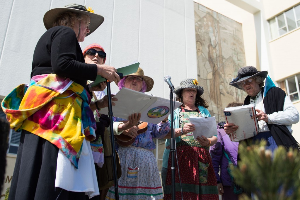 "The ""Raging Grannies"" sing to the crowd outside the Humboldt County Courthouse."