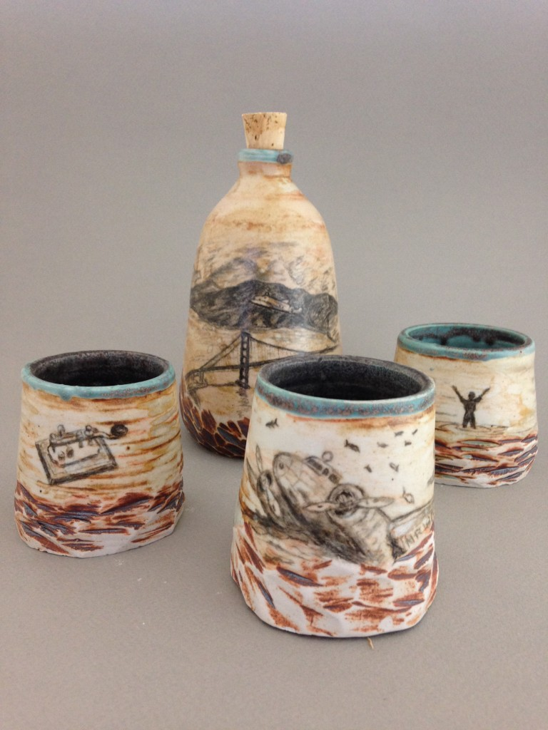 """Amelia Earhart,"" ceramic 4-piece whiskey set by Lisa Enge."