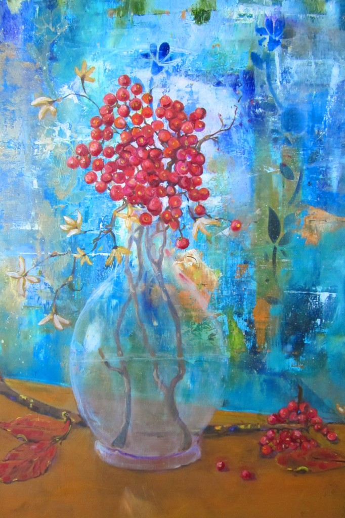 """Red Berries,"" oil painting on panel by Teresa Saluzzo."