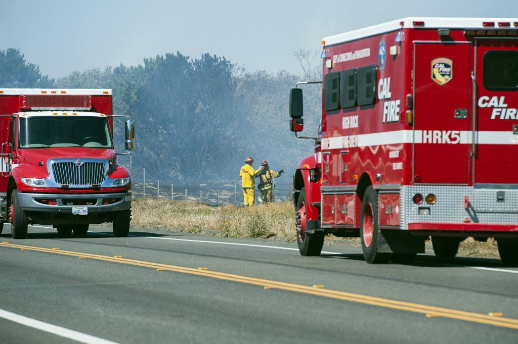 Multiple agencies responded to a fast moving wild  fire near Manila on Thursday afternoon.