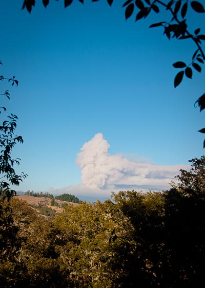 Smoke from Lassic Fire about 6:45 p.m. [Photo by Kym Kemp]