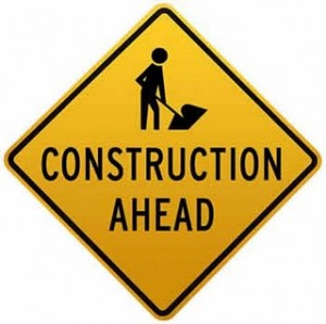 construction ahead sign
