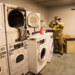 Capt Padula inspects laundry room