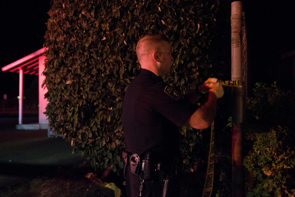 An officer blocks off the perimeter of Hammond Park in Eureka.