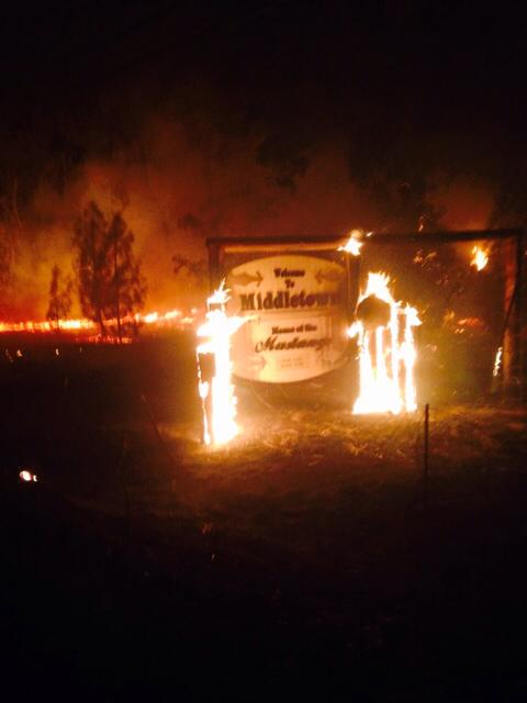 A Caltrans worker took this photo as Middleton burned. [All photos in this article from Caltrans District 1's Facebook page.]