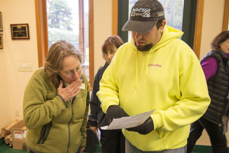 Sequoia Park Zoo Manager Gretchen Ziegler, left, talks with volunteer Wesley Frietas, of Eureka, about the location of bamboo he had found in the search area he was assigned Saturday Morning.