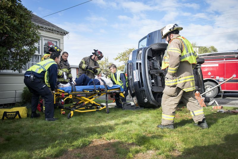 Humboldt Bay Fire crews extricated a woman from her van following a rollover accident at Henderson and Union in Eureka.