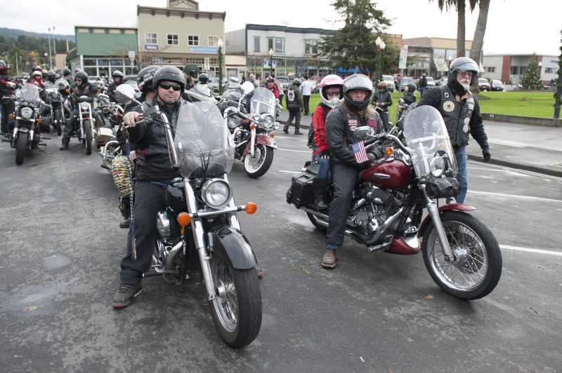 Bikers prepare to ride to Eureka during the toy run.