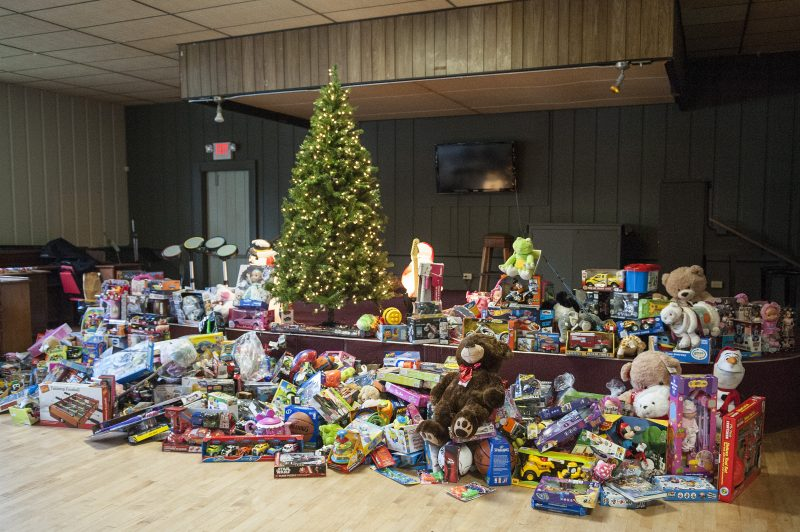 Toys brought for the run were assembled for collection and donation to the Eureka Rescue Mission.