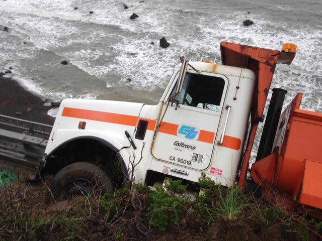 A slide nearly pushed a Caltrans truck and driver over a precipice on Friday. [Photo provided by Caltrans]