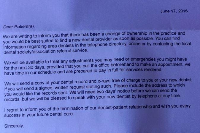 Letter Dentist No License