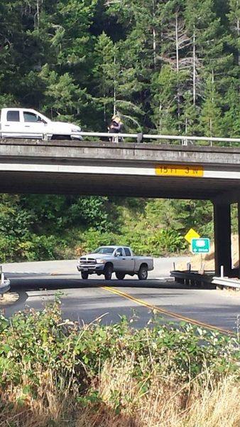Truck struck overpass