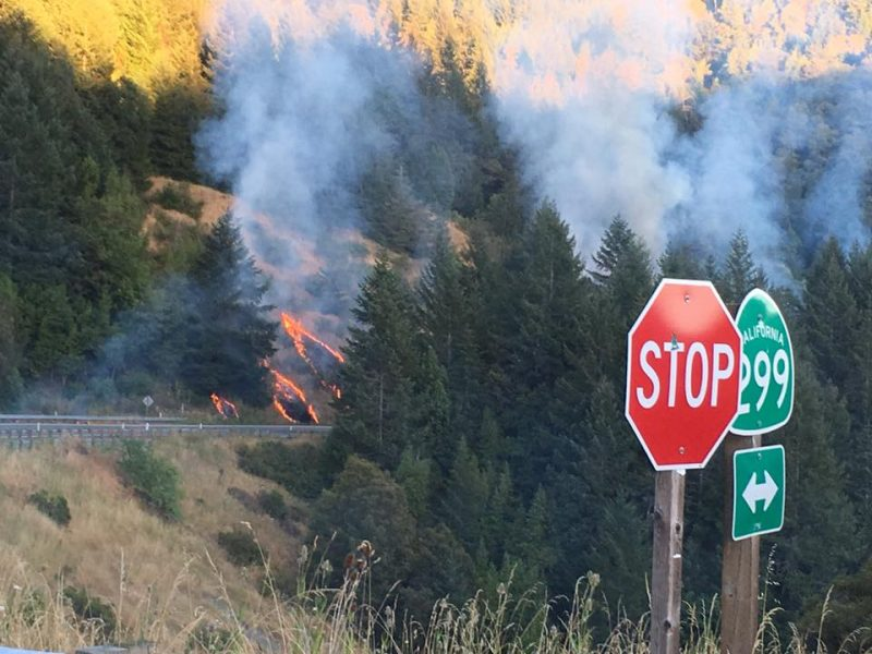 Fire on Hwy 299 7/31/16 [Photo by Quinn Fry
