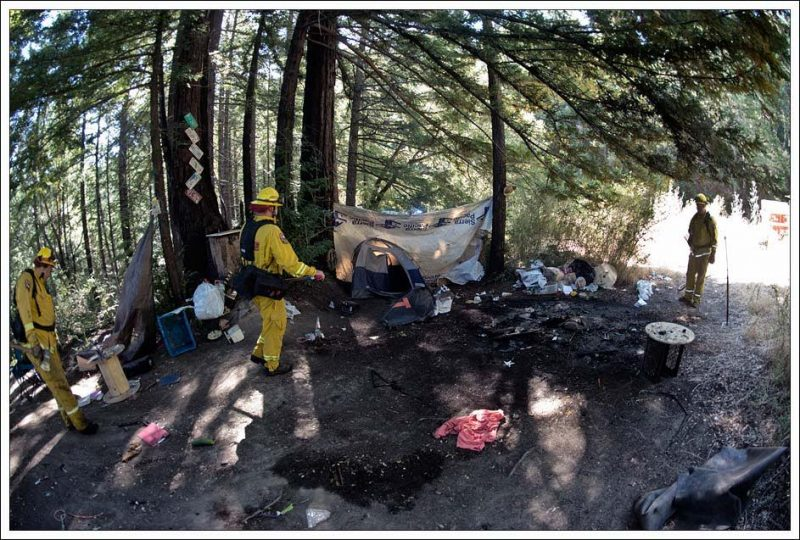 Fire in a homeless camp