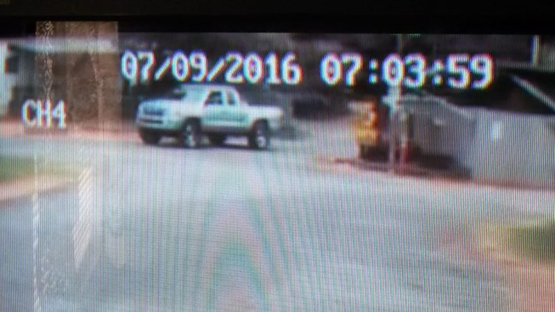 Toyota Tacoma on surveillance camera