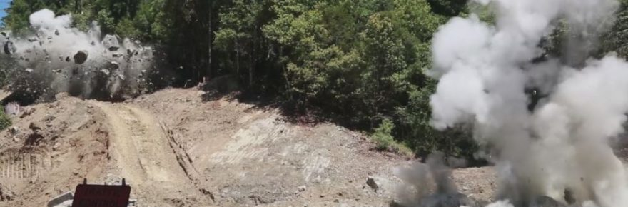Boulders being blown up