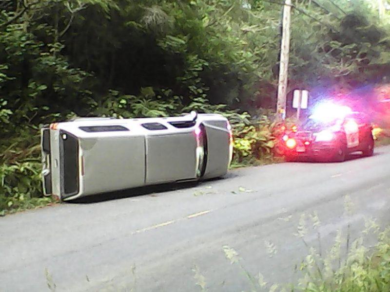 Overturned Toyota Tacoma