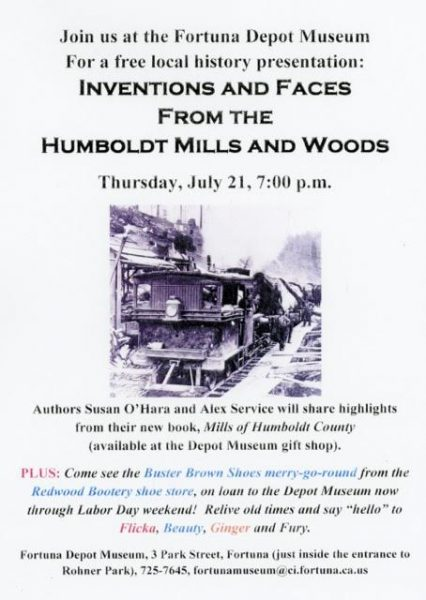 Poster for Inventions and Faces from the Humboldt Mills and Woods.