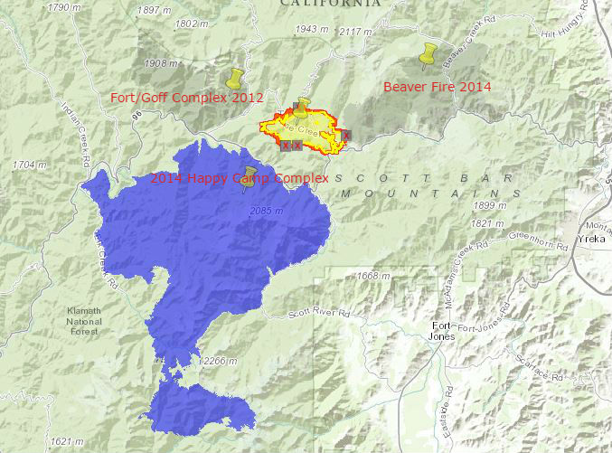 The Gap Fire is almost centered in the footprints of previous fires. [Labeled version of a map created here.]