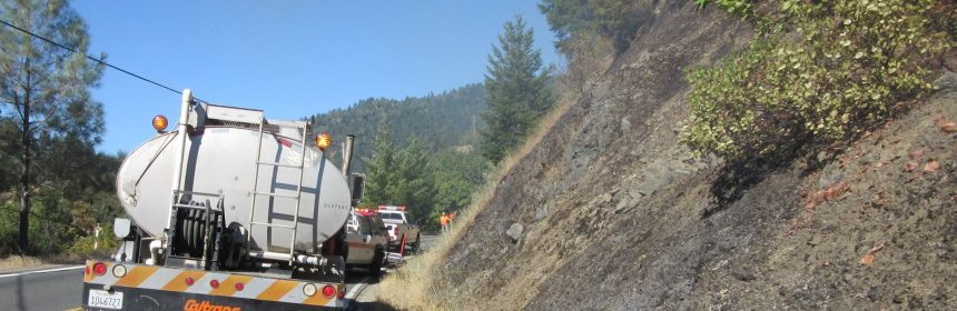 Caltrans photo of fire near willits 8/1/16