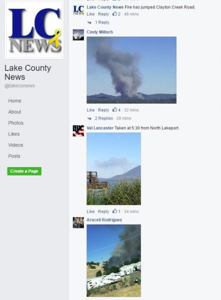 Capture of Lake County News Facebook page
