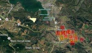 Modis map showing rough boundaries of Clayton Fire