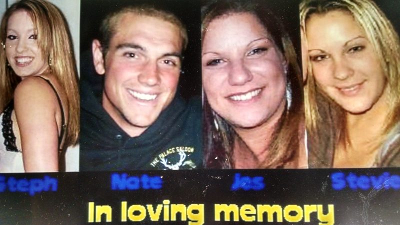Passengers Stevie Shroyer, 19, of Garberville; Stephanie Hubbard, 20, of Scotia; Nathan Titus, 21, and Jessica Toste, 23, both of Ferndale, drowned in the lake as a result of the crash.