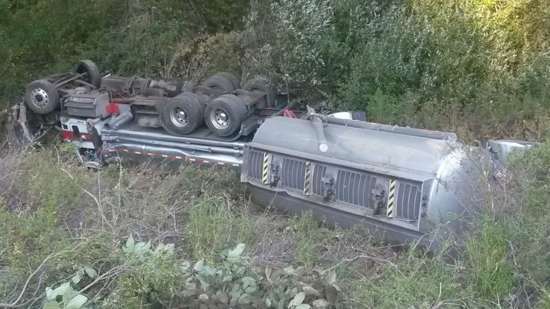 Gas truck rolled