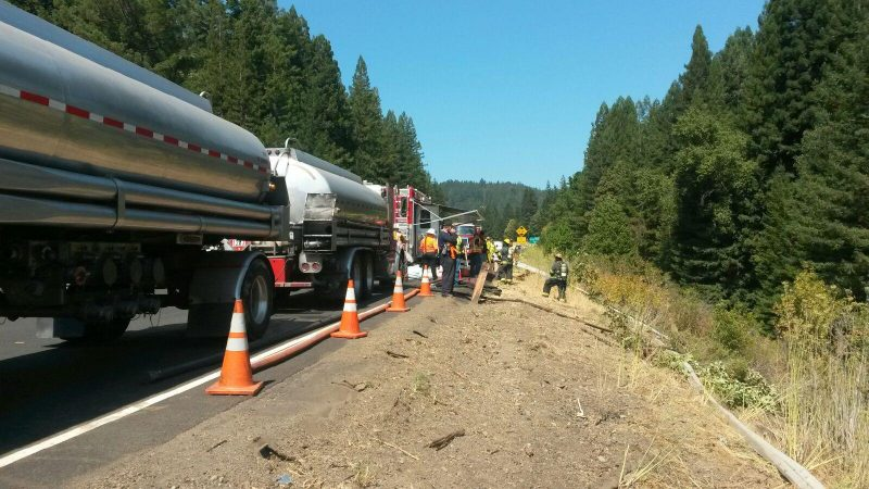 Tanker prepares for a hot stinger operation. [Photo from Brian Anderson of the CHP]