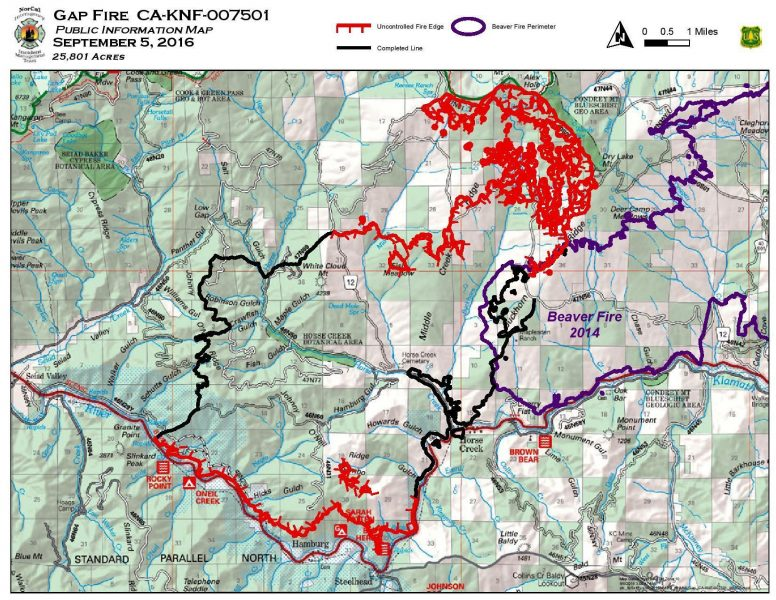 Map shows contained areas of the Gap Fire [Information from InciWeb]