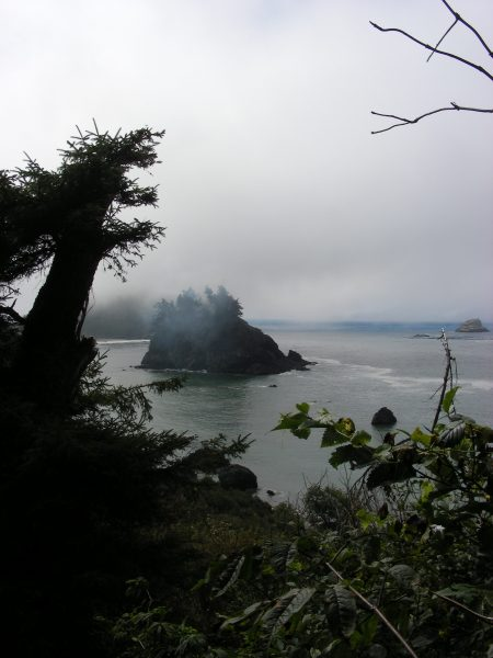 Pewetole Island smokes in the morning fog. [Photo by a reader]