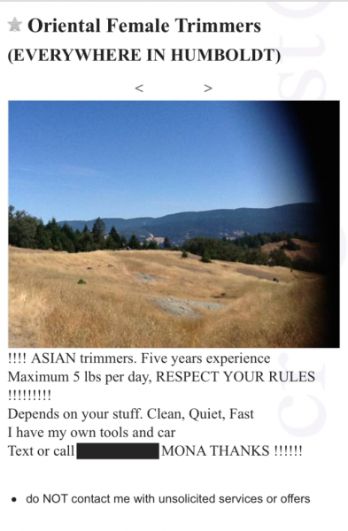 "A Craigslist ad offers ""Oriental female trimmers"" in Humboldt County."