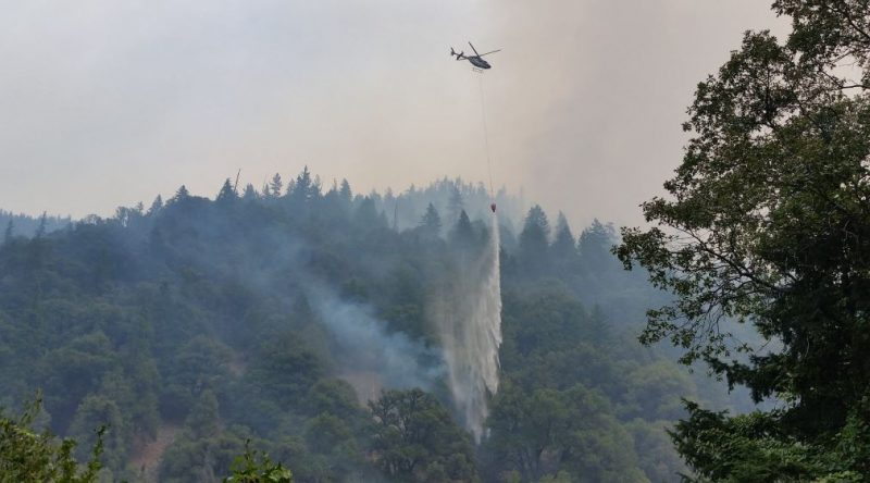Gap fire Helicopter dumping water
