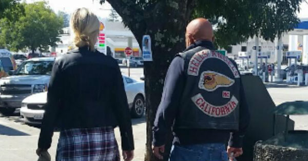 Hells Angels in Garberville [Closeup from a photo provided by a reader]