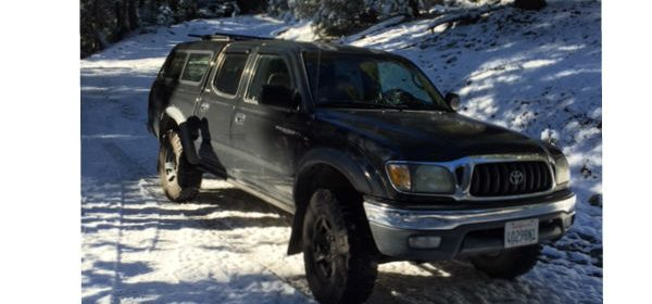A thief stole this black Toyota Tacoma from the Bay Tank in Eureka.