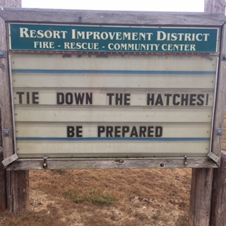 A message from the Shelter Cove Volunteer Firefighters. [Photo by Cheryl Antony]
