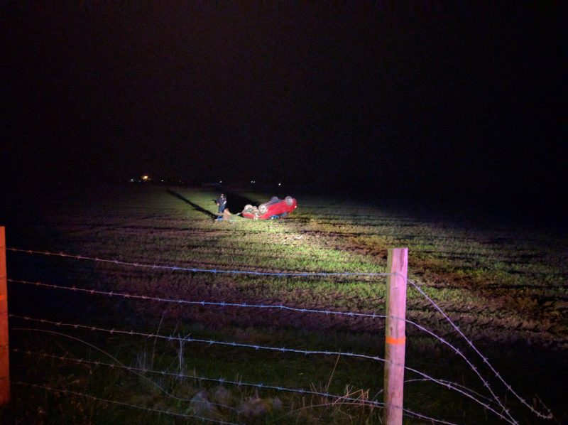 Wreck in a cow field. [Photo provided by a reader]