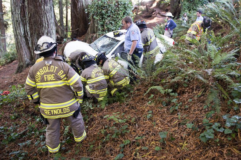 A car driven by an elderly woman barreled through the stop sign at P and Hodgson and ended up some too yards from the roadway into the green belt the Sequoia Park Trail access and came to a stop after striking a tree. According to Chris Emmons, Public Information Officer for Humboldt Bay Fire, the initial report came in for an accident with an extrication. The first units on scene saw that there was minimal extrication needed, but due to the distance from the roadway the full response was continued. The elderly woman sustained major injuries and was transported to the hospital by ambulance in critical condition.