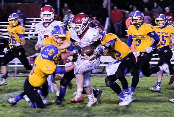 Three Cubs converged to bring down Ferndale running back last Friday night in Miranda [Photo by Janice Coffelt]