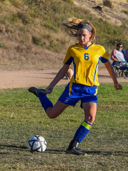 Senior Winger Nadia Wilke delivers a cross in last Monday's 4-1 win over Mendocino [Photo by Suzanne Van Meter]