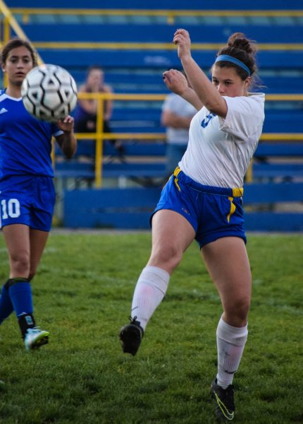 Senior midfielder Victoria Van Meter, who has played every minute of every game winning a loose ball against Fortuna last Wednesday night in Miranda [Photo by Suzanne Van Meter]