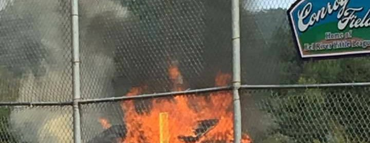 batting cage on fire