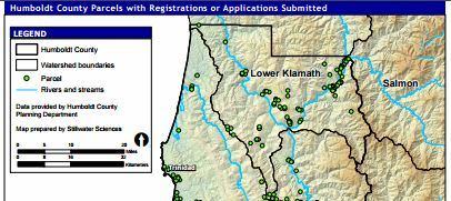 map of cannabis related parcels in the legal process in Humboldt County California
