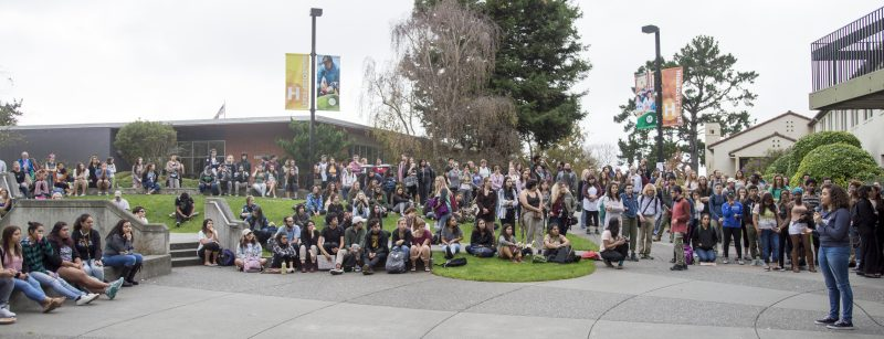 Students are gathered at the University Center Quad. [All photos by Oliver Cory]