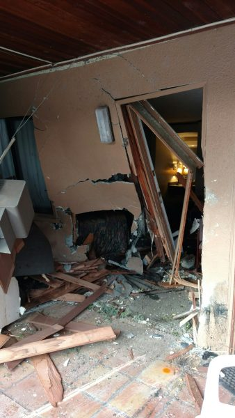 Car into motel