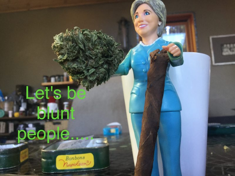 Hillary Clinton figure with marijuana. [Photos provided by a reader]
