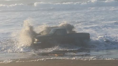 Ford ranger in the ocean